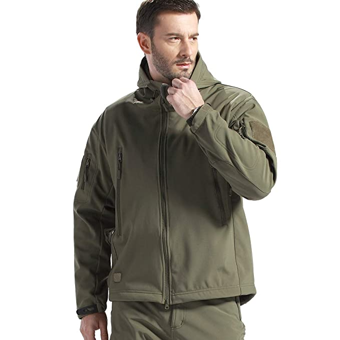 FREE SOLDIER Men Outdoor Waterproof Tactical Softshell Hooded Jacket