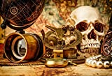 Baocicco 7x5ft Pirate Treasure Hunt Backdrop Horror Skull Compass Watch Globe Decorations Backdrop Vinyl Photography Background Witch Pearl Necklace Night Party Magic Potion Pirate