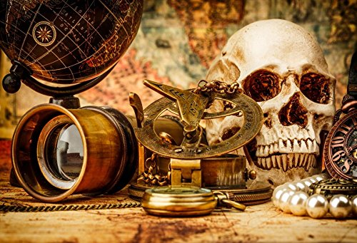 Baocicco 5x3ft Pirate Treasure Hunt Backdrop Decorations Horror Skull Compass Watch Globe Backdrop Vinyl Photography Background Halloween Wizard Witch Pearl Necklace Night Party Magic Potion Pirate]()