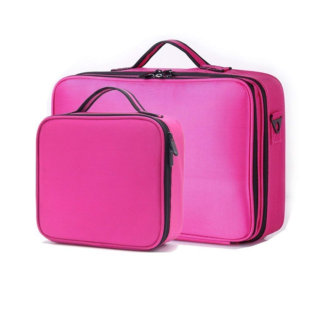 Large Makeup Case and Small Makeup Train Case,3-Layers Cosmetic Organizer Beauty Artist Storage Brush Box Large+Small,The Large One With Shoulder Strap