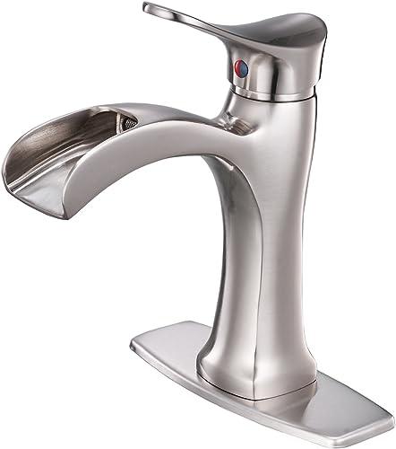 BWE Waterfall Brushed Nickel Single Handle Hole Bathroom Sink Faucet