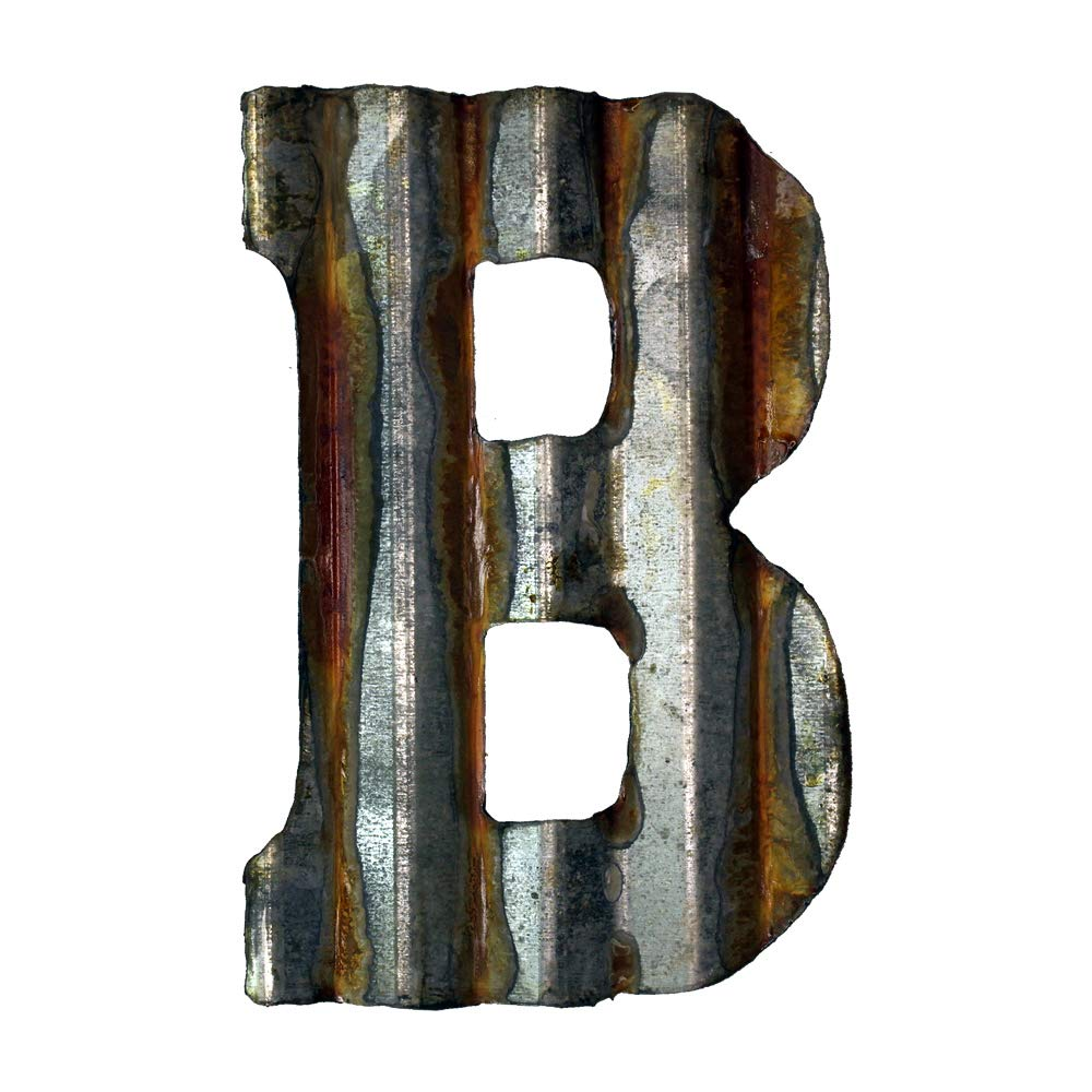 Custom Cut Decor 8'' Rusty Galvanized Corrugated Metal Letter -B