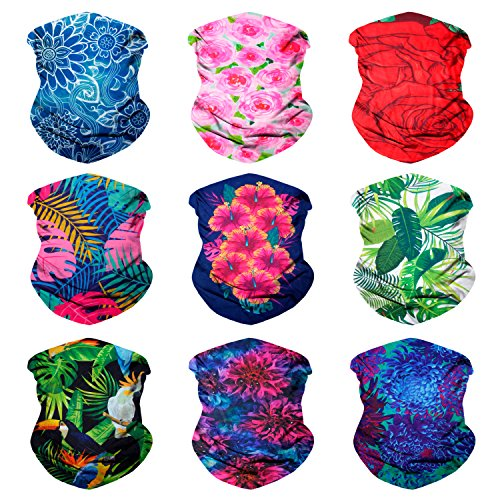 Sojourner 9PCS Seamless Bandanas Face Mask Headband Scarf Headwrap Neckwarmer & More – 12-in-1 Multifunctional for Music Festivals, Raves, Riding, Outdoors (9PCS Floral Series 1)