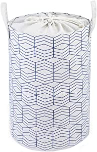 """Xingte 22.8"""" Laundry Hamper Basket Bucket Storage Bin Clothes Towels Organizer with Durable Handles Decorative Family Laundry Bags, Blue Geometry"""