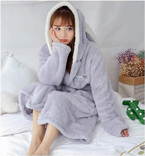 Women Hooded Fleece Bathrobe Warm Nightwear Winter Pajamas Cute Rabbit Bath Robe