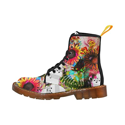 Shoes Flower Skull Lace Up Martin Boots For Women