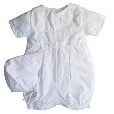 b43633c2 Petit Ami Baby Boys' Hand-Embroidered Cross Christening Romper, 3 Months,  White