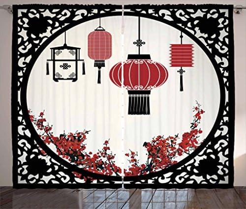 Ambesonne Lantern Curtains, Lanterns with Japanese Sakura Cherry Blossom Trees Round Ornate Graphic, Living Room Bedroom Window Drapes 2 Panel Set, 108 X 90 , Red Beige