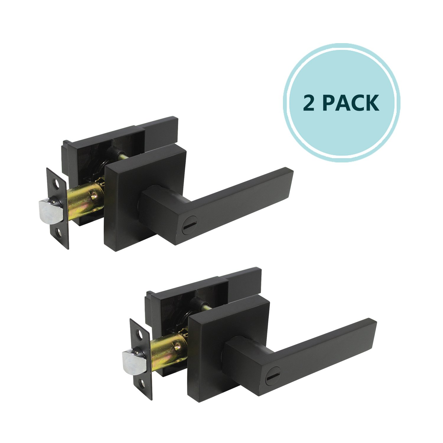 2 Pack Heavy Duty Privacy Lever Door Handle(Thumb Turn Inside Lock) for Bedroom or Bathroom with A Matte Black Finish, Right Handing 2.07 lb One Lever