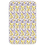 Rectangular Area Rug Mat Rug,Watercolor,Yellow Wildflowers Artistic Spring Garden Botanical Foliage with Herbs,Yellow Purple White,Home Decor Mat with Non Slip Backing