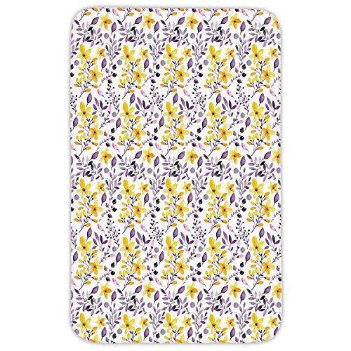 Rectangular Area Rug Mat Rug,Watercolor,Yellow Wildflowers Artistic Spring Garden Botanical Foliage with Herbs,Yellow Purple White,Home Decor Mat with Non Slip Backing by iPrint