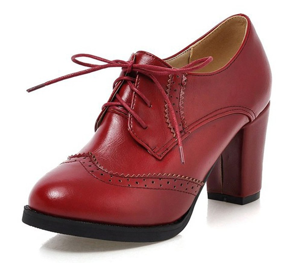 Aisun Women's Vintage Pointed Toe Wear to Work Office Dress Lace Up Oxford Shoes Stacked High Heel Booties Ankle Boots Red 8.5 B(M) US