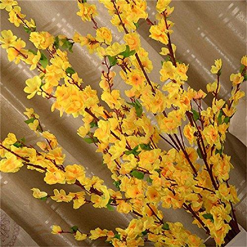 ADSRO Artificial Cherry Spring Plum Peach Blossom Branch Silk Flower Tree Decor Yellow