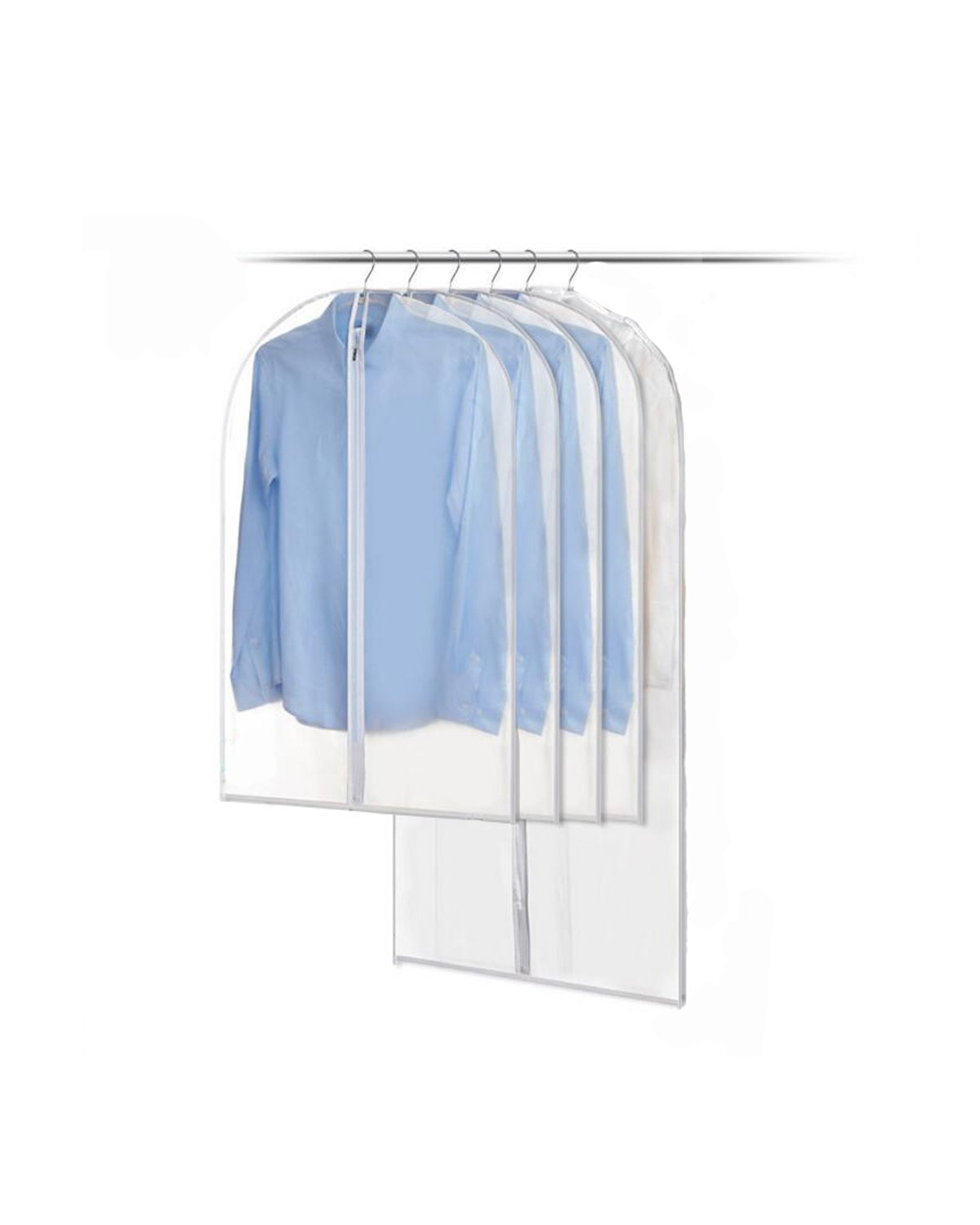 5Pack Amersumer Pack of 5 Translucent Dust Cover Garment Storage Organizer Bag, Zipper Garment Clothes Covers, 4 Medium and 1 Large.