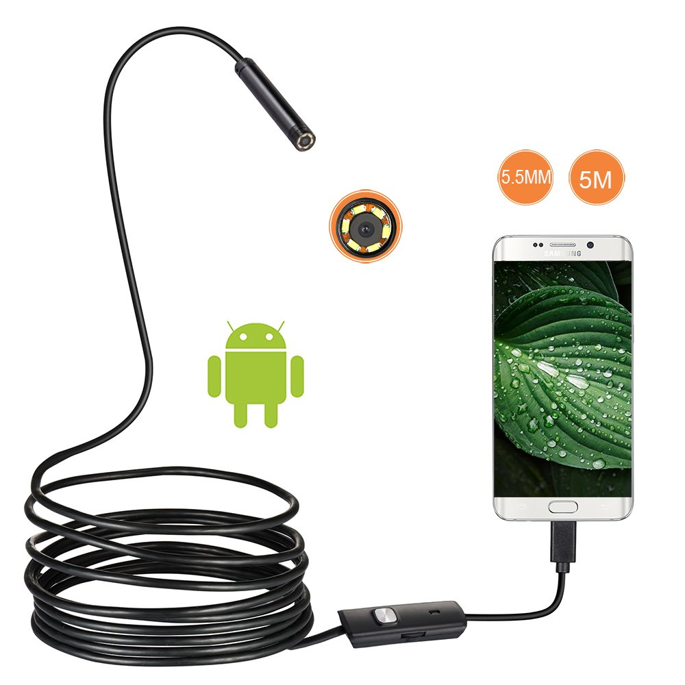 USB Adnroid Endoscope Camera,Borescope Inspection Camera HD CMOS Waterproof Snake Camera with 6 Adjustable Led for Android, Smartphone, Samsung, Windows, Tablet-16.4 ft (5M) by JCWHCAC