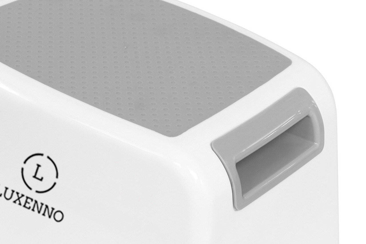 (2 Pack) Dual Height Step Stool for Toddlers & Kids, Nursery Step Stool Potty Training Stool for Bathroom, Kitchen, Two-Step Design with Soft No-Slip Grips and Safe, White & Grey, by Luxenno by LUXENNO (Image #3)