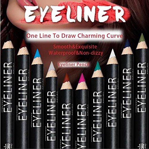Eyeliner Pencil Makeup Set - 12 Assorted Colors Natural Matte Long Lasting Hypoallergenic Under Eye Liner Kit with Sharpener & 2 Eye Masks (Black Gray Brown Plum Purple Lavender ect.)