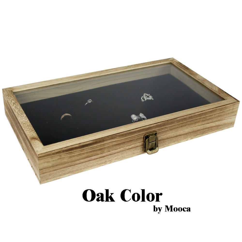 Mooca TEMPERED GLASS Top Wood Jewelry Display Case 72 Slot Compartment Ring Tray, Oak Color