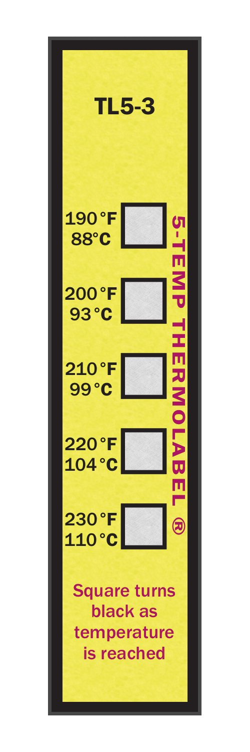 5-Temp Thermolabel 190-230°F Temperature Label Pack of 16 Labels