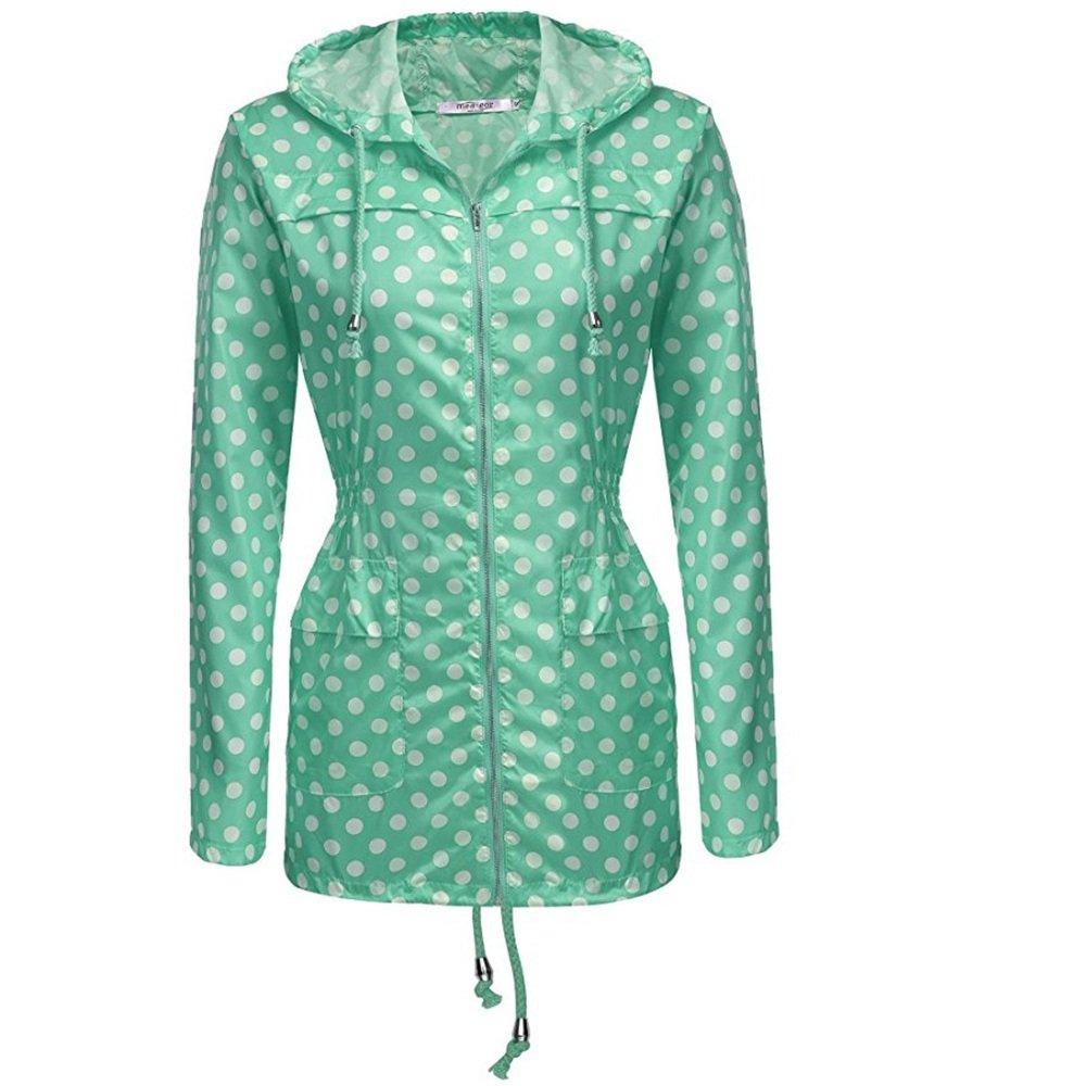 Aihifly tragbar Weißer Wellen-Punkt-Grün-Damen-Regenmantel-mit Kapuze Sonnenschutzmittel-Wasserdichter Regenmantel-im Freienregenmantel (Größe   XL)