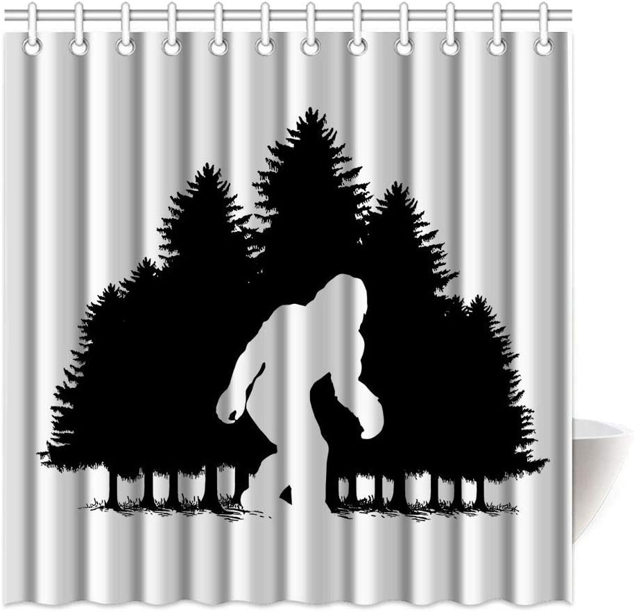 HommomH 69 x 84 Inch Bigfoot Shower Curtain Fabric Bathroom Bathtub Decor Set with Hooks Machine Washable Silhouette Forest Snow