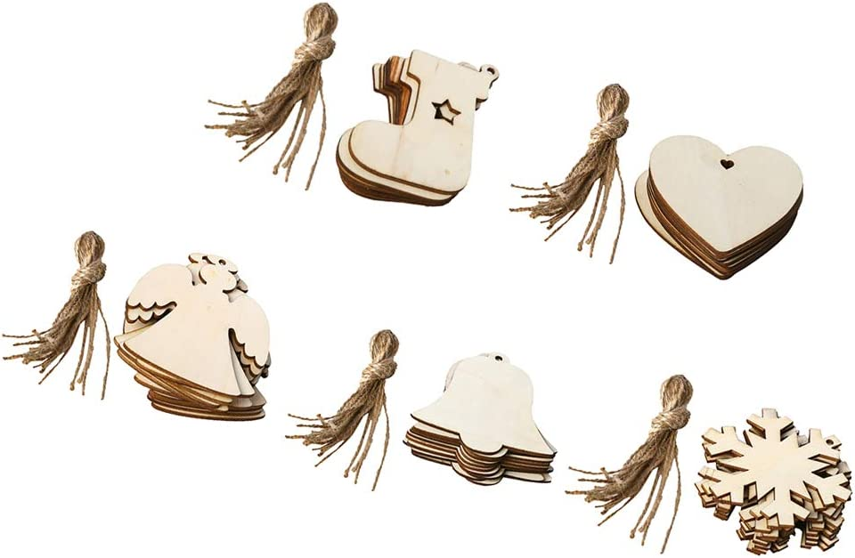 Sock 64x85mm 10Pcs Xmas Tree Ornament Natural Unfinished Blank Wood Shapes Tags with Holes and String DIY Wooden Pendants Hanging Craft Decoration Wood