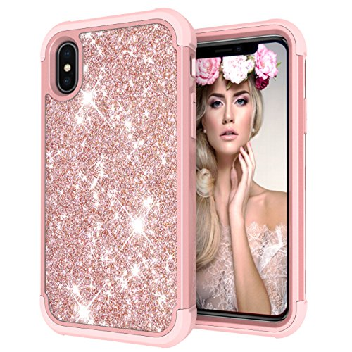 - iPhone X/Xs Case,iPhone 10 Case [Heavy Duty] Armor 3 in 1 Rugged Cover Full Protective Case Shockproof Drop-Proof Scratch-Resistant Tough Shell (Bling Pink)