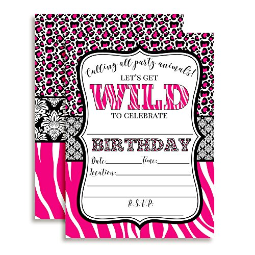 "Hot Pink Animal Print Birthday Party Invitations for Girls, 20 5""x7"" Fill in Cards with Twenty White Envelopes by AmandaCreation."