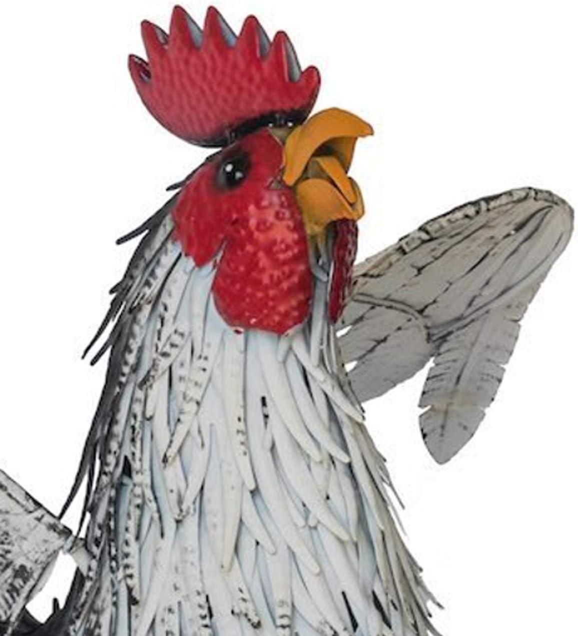 Metal Fountasia Animal Kingdom Figura Decorativa de Gallo Blanco y Negro