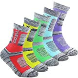#8: YUEDGE Women's 5 Pairs Wicking Cushion Outdoor Athletic Hiking Walking Socks