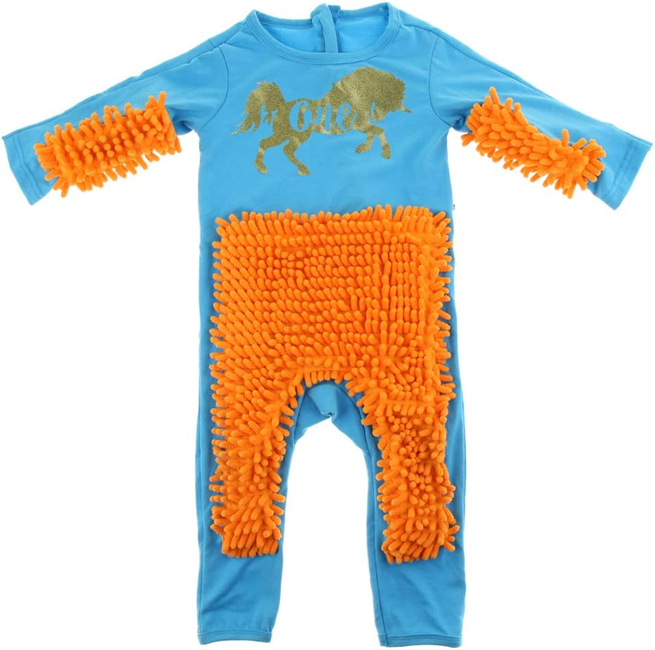 Baby Boys Girls Rompers Long Sleeve Mop Jumpsuit Crawling Toddler Swob Suit
