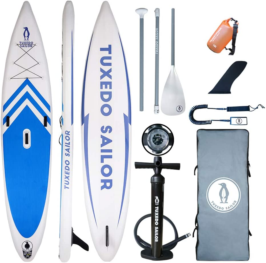 Tuxedo Sailor Inflatable Stand Up Paddle Board 12 6 x31 x6 All Skill Levels Everything Included with Stand Up Paddle Board, Adj Paddle, Pump, ISUP Travel Backpack, Leash, Repair Kit, Waterproof Bag