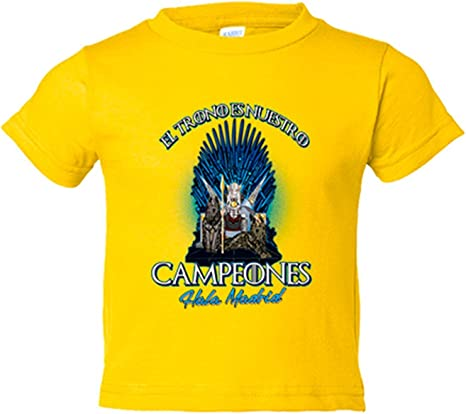 Camiseta niño Madrid fútbol el trono es nuestro Real - Amarillo, 3 ...