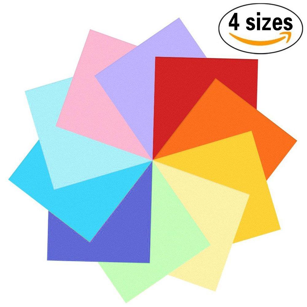 400fogli colorati double face, carta per origami in 10colori vivaci assortiti, 4misure - 100fogli da 20cm x 20cm + 100fogli da 15cm x 15cm + 100fogli da 10cm x 10cm + 100fogli da 7,5cm x 7,5cm + 100occhietti che si muovono 5cm x 7 Sunerly