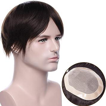 Pelucas Hombre Pelo Natural Prótesis Capilar 100% Remy Cabello Humano [Base de Monofilamento+NPU] 120% Densidad Peluquín Lisa Toupee 6