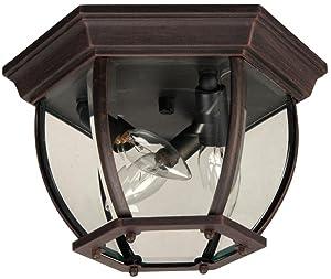 """Craftmade Z433-RT Bent Glass Outdoor Flush Mount Ceiling Lighting, 3-Light, 180 Watts, Rust (11"""" W x 7"""" H)"""