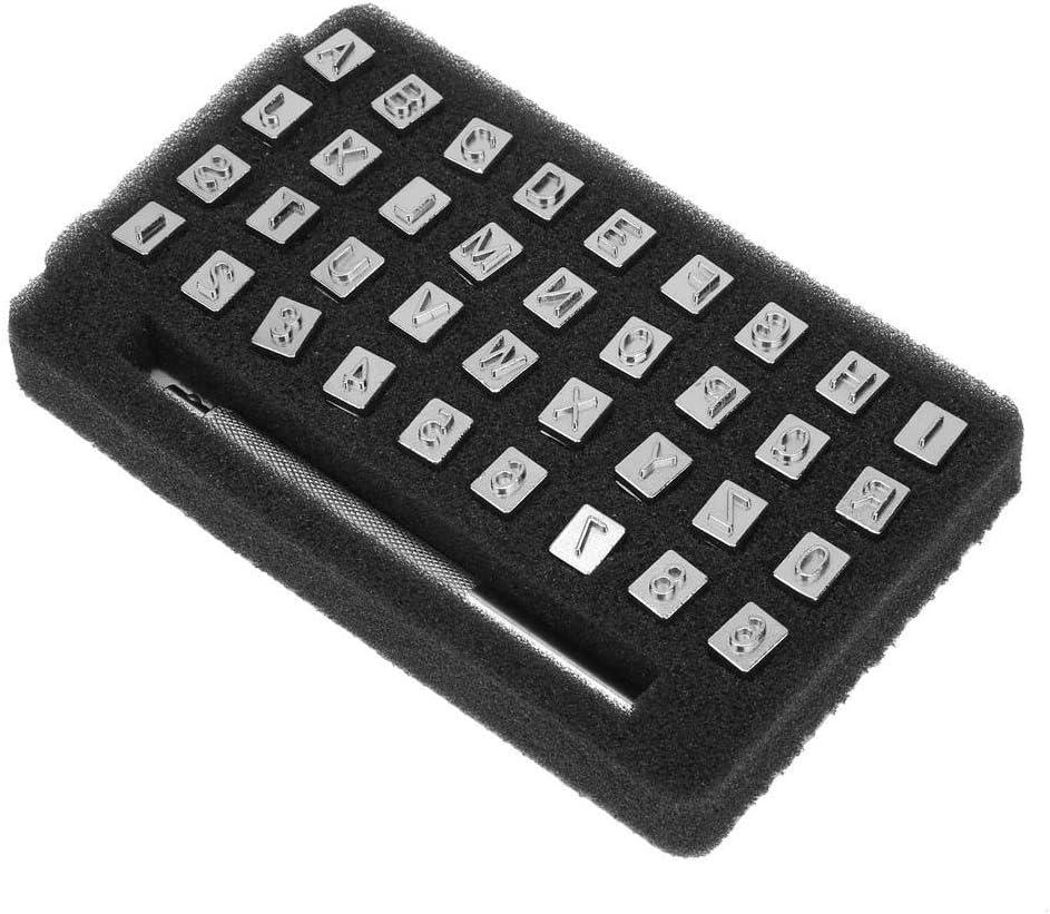 36 unids 13mm Metal Conjunto de Estampillas de Cuero Punch Alfabeto de Diseño Vintage 26 Letras y 10 Números Punch DIY Herramienta Leathercraft(6,5 mm)