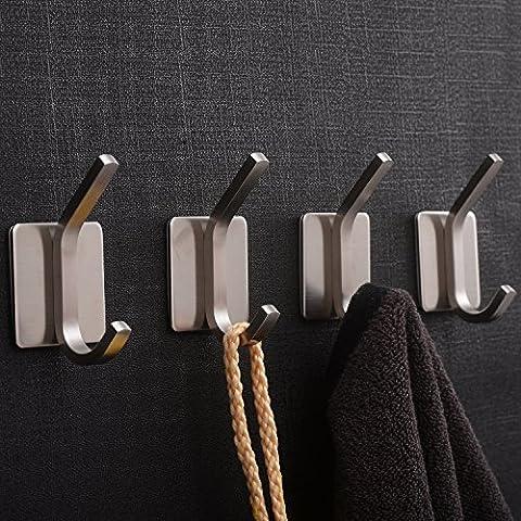 YIGII Coat Robe Hook Rail Bathroom Wall 3M Self Adhesive Brushed SUS304 Stainless Steel Towel Hooks 4 - Mirror Coat Hooks