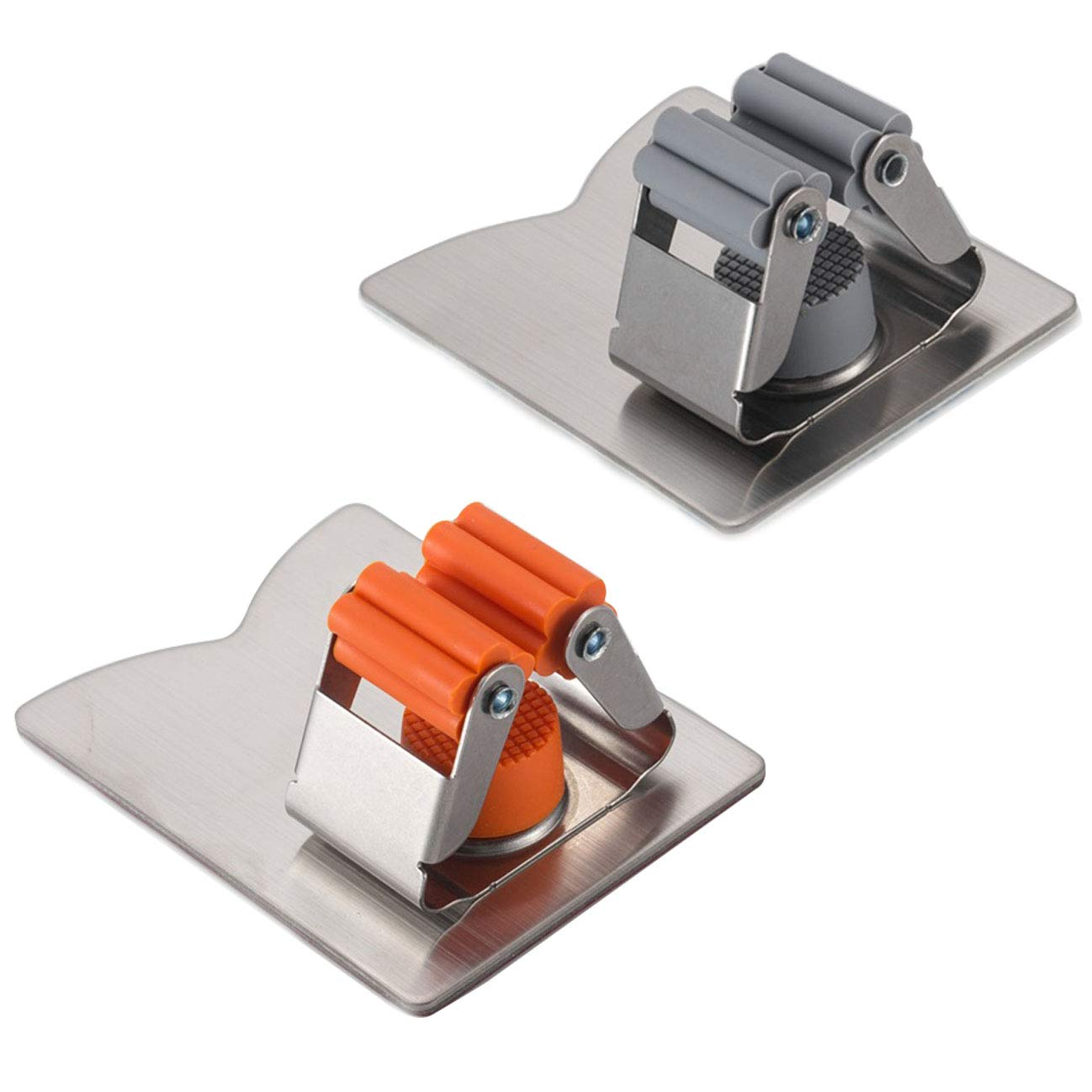 Onkuey Mop and Broom Holder, 2 Pack Wall Mounted Mop Broom Organizer Grippers, Stainless Steel Brushed