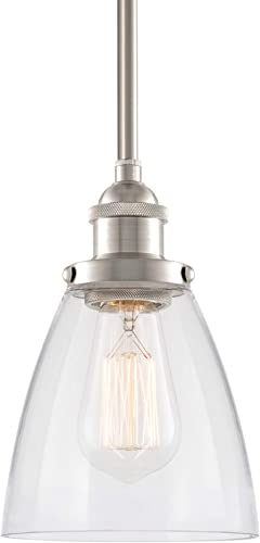 Kira Home Porter 8 Vintage Industrial Pendant Light Mini Glass Shade, Dimmable, Adjustable Height, Brushed Nickel Finish