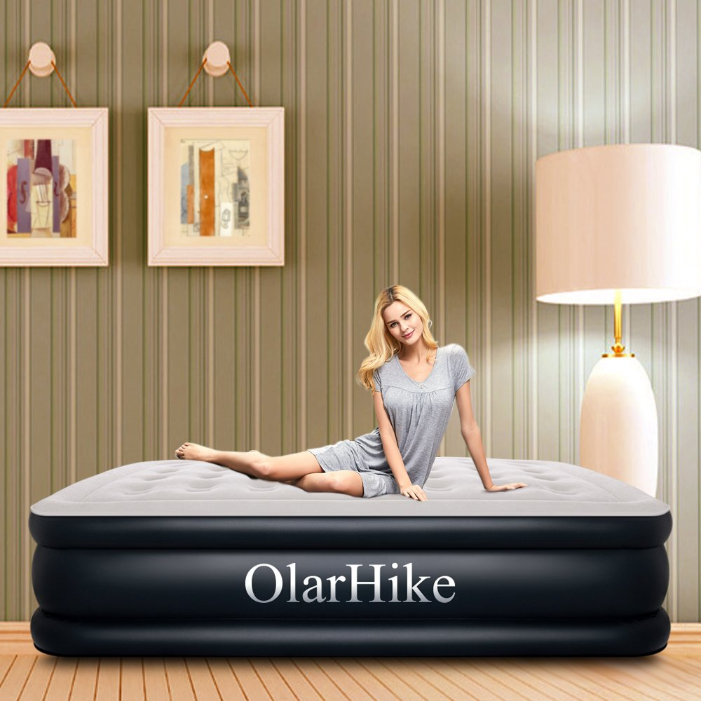 Queen Air Mattress with Built-in Pump for 2 Adults, Inflatable Double High Elevated Airbed for Guests with Comfortable Top, Raised 18'' Real Air Mattresses as Camping Bed, Inflated Size-80×60×18 INCH by OlarHike (Image #9)