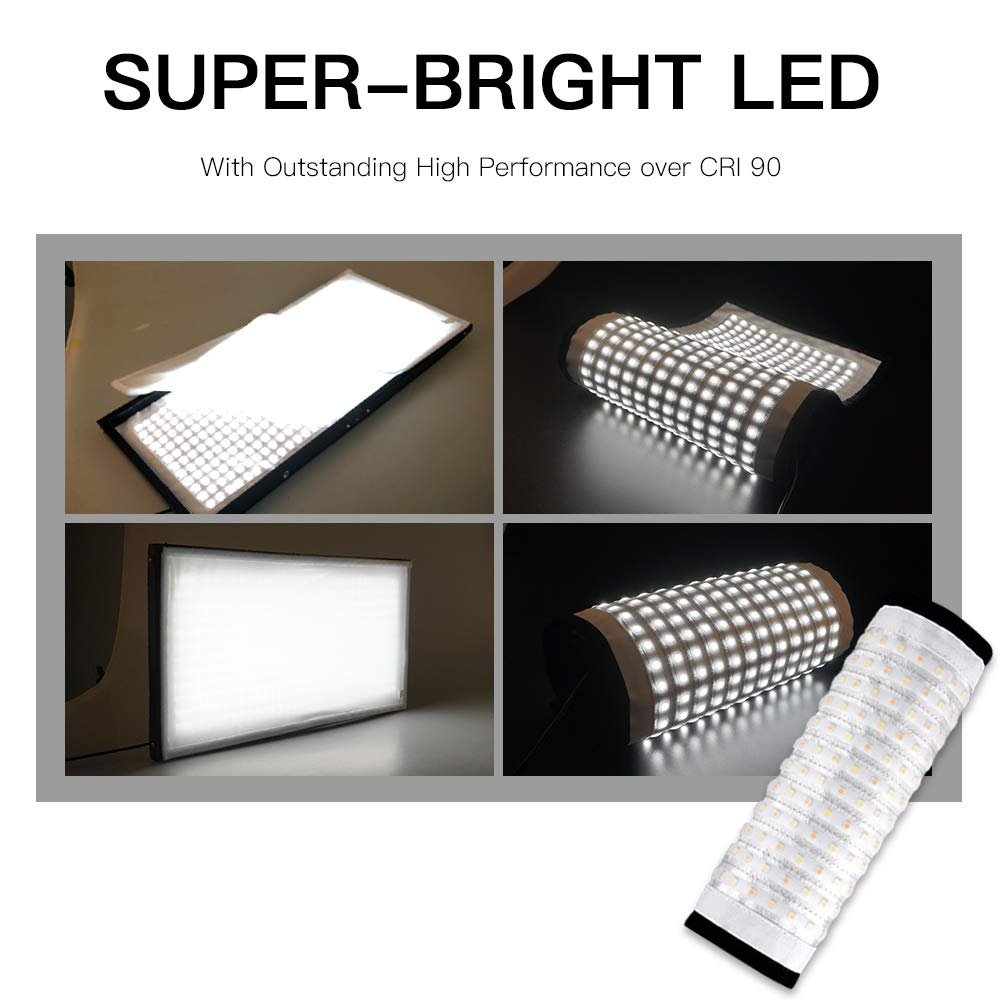 FOSITAN FL-1x2 2nd Gen Portable Rollable 30x60cm Flexible LED Light Panel Mat on Fabric Daylight 5000K 48W 8000LM 384 SMD LED 90 CRI for Traveling filmmakers Videographers Photography Shooting