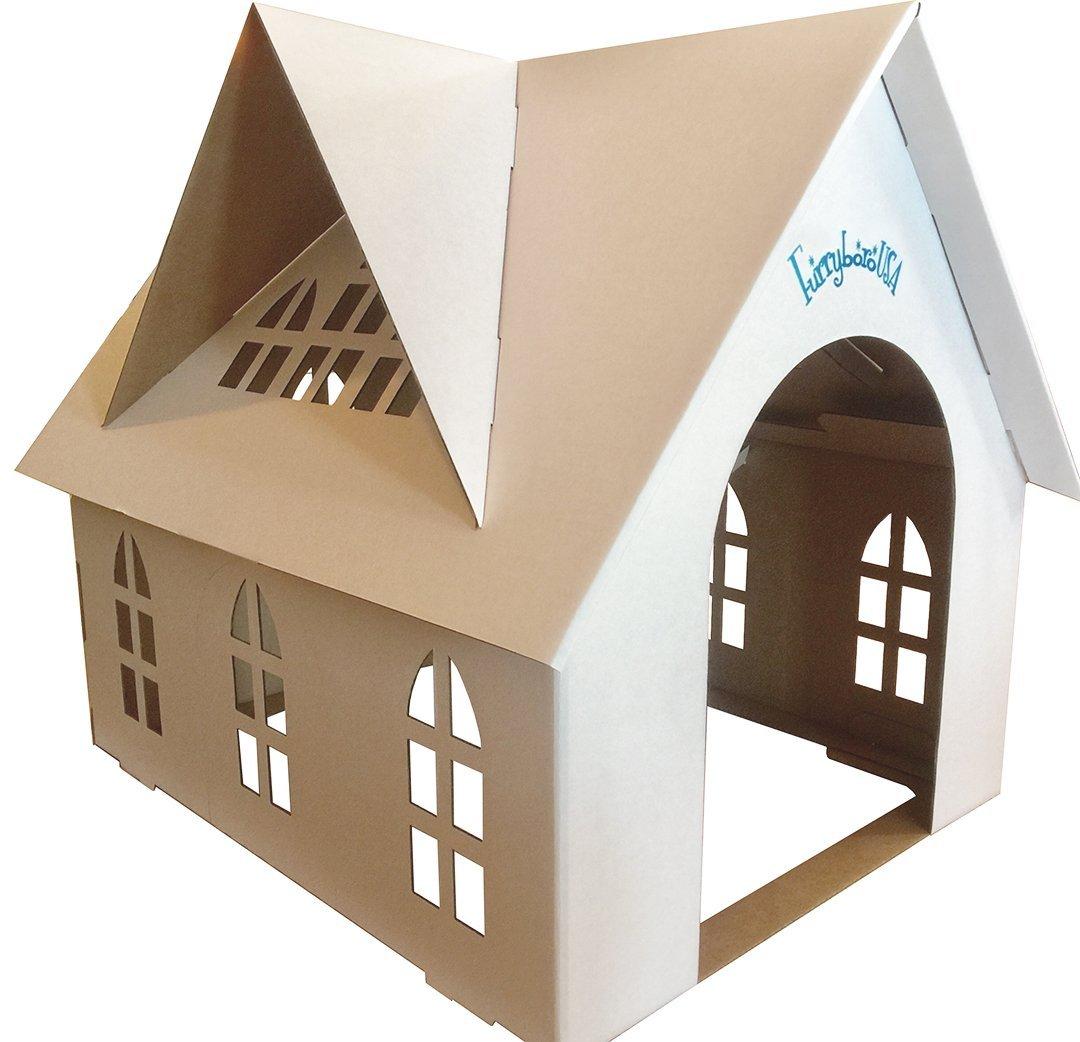 Furryboro Cardboard Indoor Pet Home a Small-Medium Dog Cats/Kitty Litter
