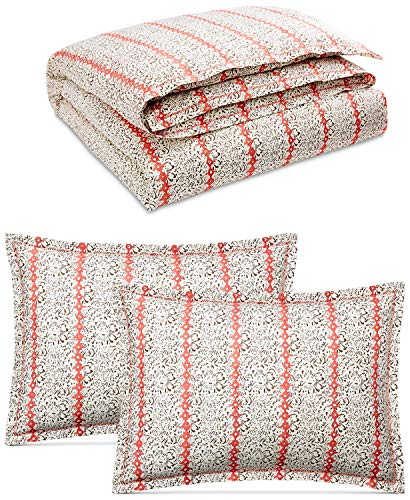 Lauren Ralph Coral Lauren - RALPH LAUREN 3 Piece King Size Duvet Cover Set Yasmine Coral 100% Cotton Percale