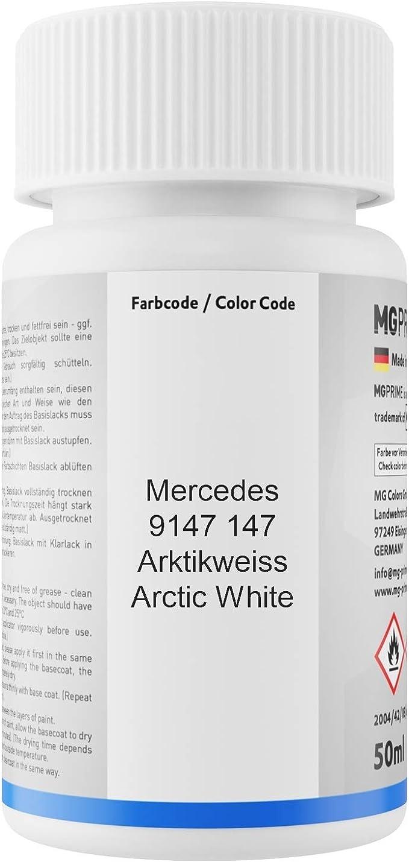 Mg Prime Autolack Lackstift Set Für Mercedes 9147 147 Arktikweiss Arctic White Basislack Klarlack Je 50ml Auto