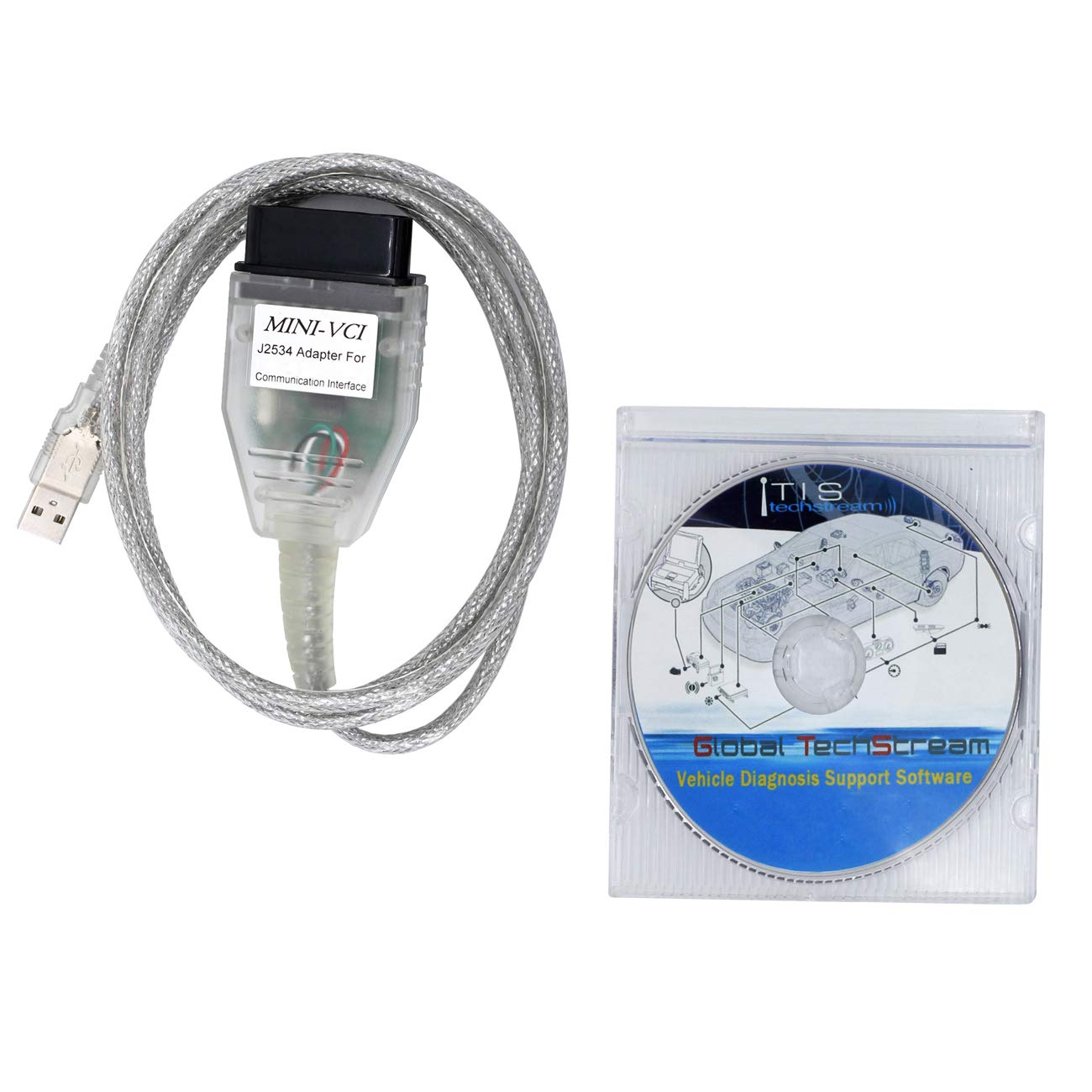 SZ-TONDA Mini VCI Techstream J2534 Cable - V2.0.4 Firmware and V14.10.028 Software TIS Techstream OBD2 K+CAN Code Reader 64bit Scanner Mini-VCI Diagnostic Tool Compatible Lexus Toyota Scion
