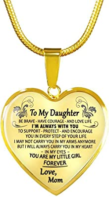 You are Little Girl Quotes Heart Pendant Necklace Mother and Daughter ThisYear Daughter Birthday Gifts from Mom