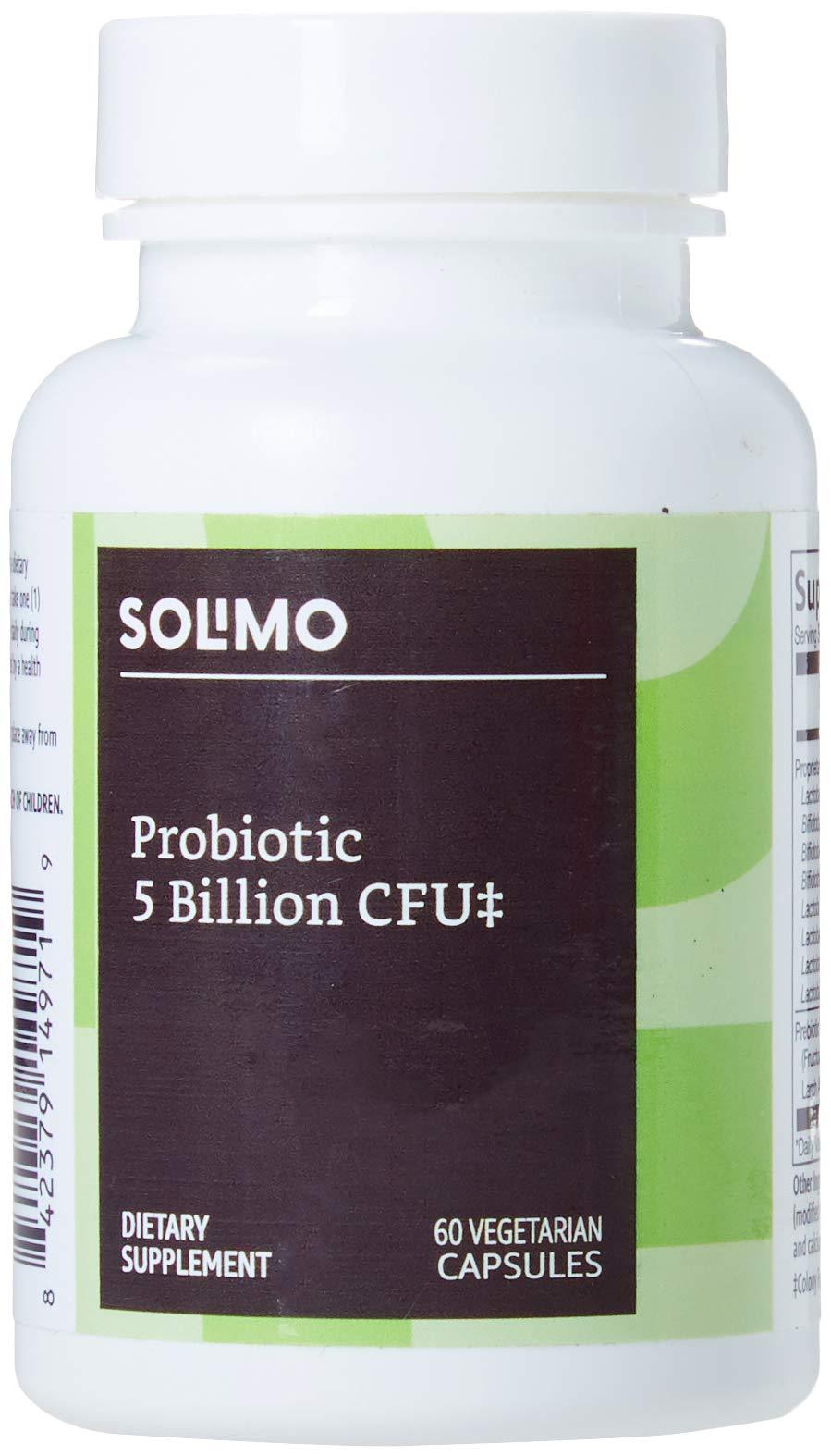 Amazon Brand - Solimo Probiotic 5 Billion CFU, 8 Probiotic strains with 60 mg Prebiotic Blend, 60 Vegetarian Capsules, 2 Month Supply
