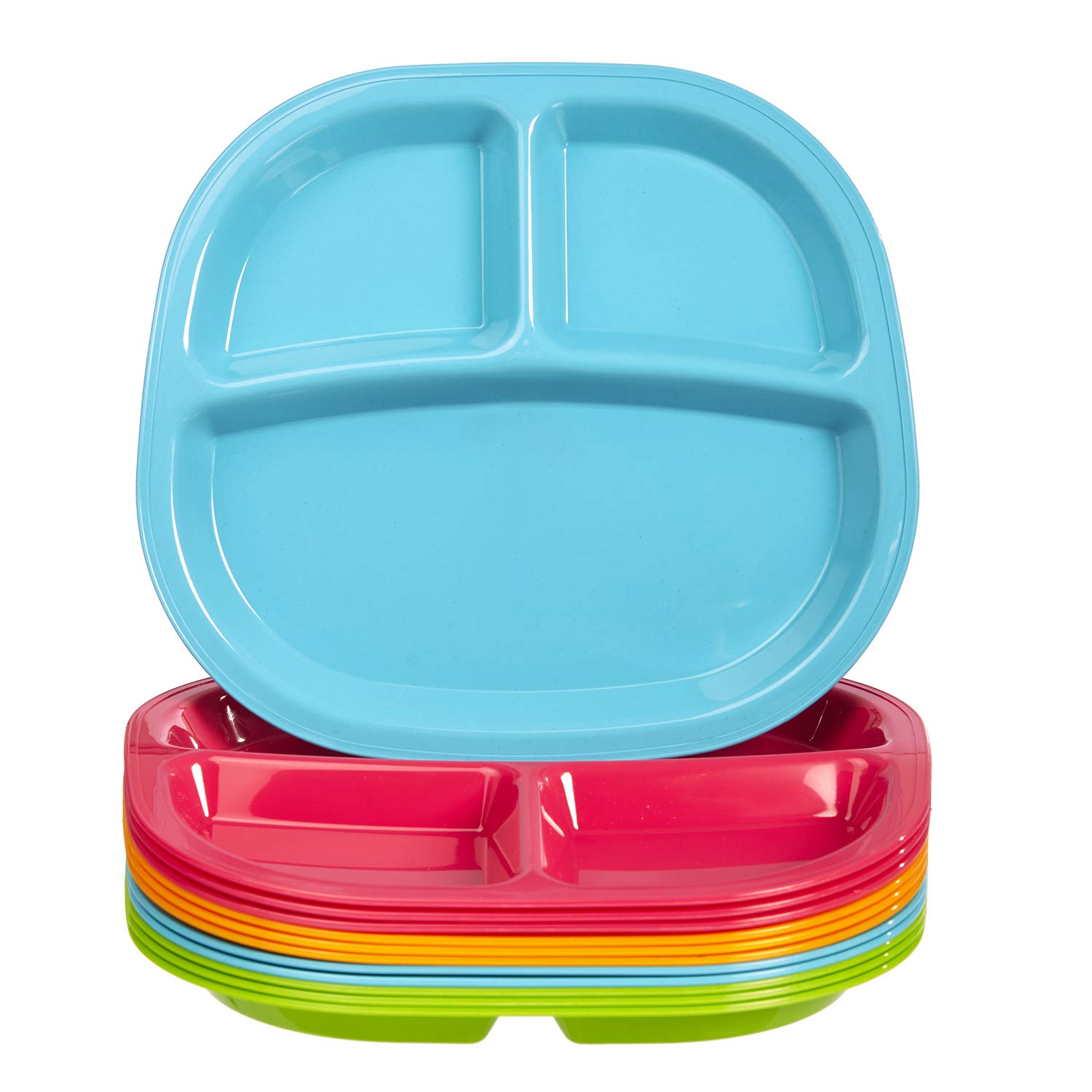 Harmony 3-Compartment Divided Plastic Kids Tray | set of 12 in 4 Calypso Colors by US Acrylic