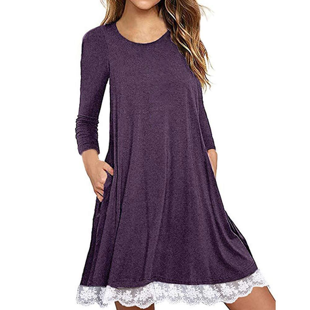 Women's Long Sleeve t Shirt Dress, Plus Size Summer Lace Hem Tunic Dress Casual Loose Dress with Pockets(Purple, XXXXL)